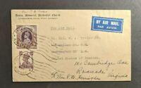 1946 Methodist Church Bombay India Airmail Cover to Washington DC Forwarded