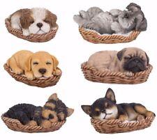 "Wicker Basket Pups Puppy Dog Collectible Figurine Miniature 6""L New"