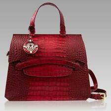 Valentino Orlandi Designer Large Purse Scarlet Red Croc Embossed Leather Tote