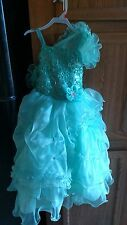 pageant dress girls size 6 teal excellent condition