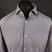 HUGO BOSS Mens Shirt 43 17 (XL) Long Sleeve Purple Regular Fit Check Cotton