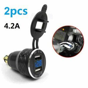 4.2A Alliage LED Moto Double USB Chargeur Prise DIN Voltmètre pour Moto