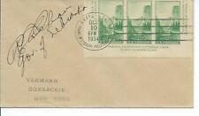 GOVERNOR OF NEBRASKA ROBERT COCHRAN SIGNED YOSEMITE SOUVENIR SHEET FDC 10/10/34