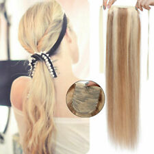 Drawstring Clip In Ponytail Hairpiece Remy Human Hair Extensions Long Straight