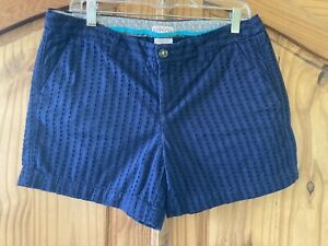 Women's Merona Navy Blue Eyelet Lace Flat Front Chino Shorts Size 12