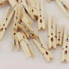 100x Mini Pegs Wooden Natural Pack Of Small Favour Wedding Party Natural Clips;,