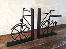 Vintage Bicycle Bookends Black Metal Bike Book Divider Ends Shabby Mens Gift