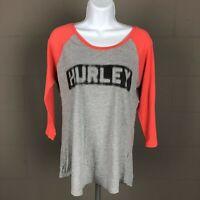Hurley Women's Raglan Baseball T-shirt Size M Gray DJ7