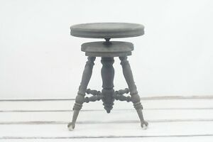 Antique/Vintage Mahogany Piano Stool Glass Ball and Iron Claw Feet Turned Leg Co