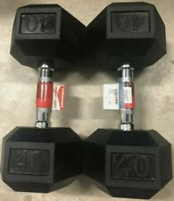 New Weider 40lb Dumbbells Pair Rubber Coated Hex Set 80lb Total Free Shipping