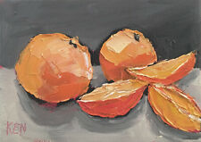 ORANGE HALFS & QUARTERS Original Still Life Fruit Painting Knives 5x7 060819 KEN