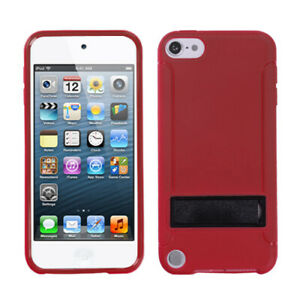 for iPod Touch 5th 6th 7th Gen - Red Stand TPU Gummy Hard Rubber Skin Case Cover