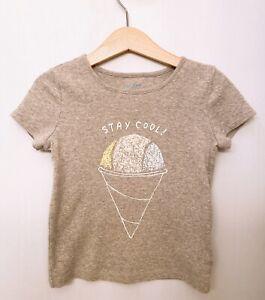 Baby Gap Girls Size 5 Years Gray Fine Ribbed Short Sleeve Ice Cream Graphic Tee