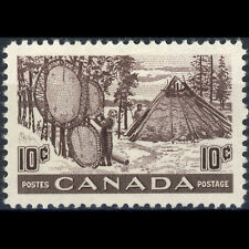 CANADA 1950 10c Brown Purple Drying Furs. SG 432. Mint Small Hinge Remain(AT164)