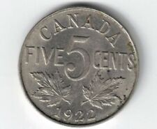 CANADA 1922 FIVE CENTS KING GEORGE V NICKEL CANADIAN COIN