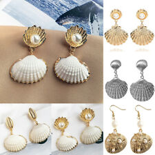 Women Pearl Sea Shell Pendant Statement Dangle Drop Earrings Bride Jewelry Gift