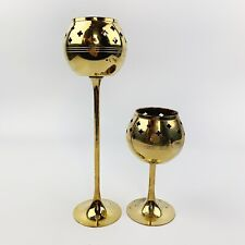 Vtg Set Of 2 Solid Brass Goblet Tall Votive Candle Holder Stamped Cut Out India