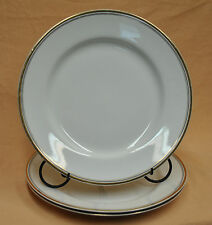"9"" Dinner Plates Johnson Bros England Stoneware China Gold Rim Black/Gold Pins"