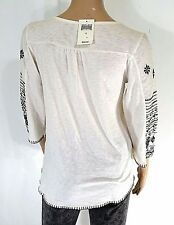 Lucky Brand Womens S Off-White Embroidered Floral Top Blouse Small NEW $59
