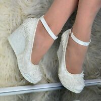 Ladies Bridal Wedges Shoes LACE & PEARLS High heel Ivory Pumps Ankle Strap, Size