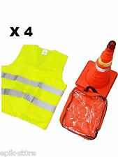 "➨🌏 4x 18"" Collapsible LED Traffic Safety Cones + Reflective Yellow Vest🌏█"