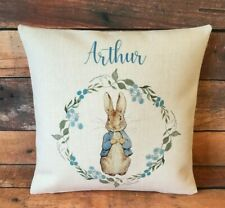Personalised Peter Rabbit cushion cover 40 cm ~ country nursery baby boy gift