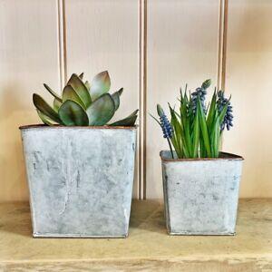Zinc Carré Métal Plante Pot Housse / Pots de Fleurs / Rustique Herbe Support