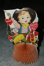 Neat 1950's 60's Large Honeycomb Valentine Boy Cowboy with Dalmatian Dogs