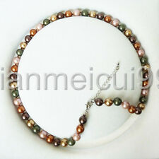 """Fashion Natural 8mm multicolor South Sea Cultured Shell Pearl Necklace 18"""" AAA"""