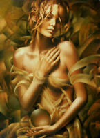 CHOP1372 handmade painted fancy naked girl portrait oil painting art on canvas