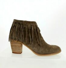 Free People Alpe Ash-Brown Suede Fringed Western Festival Block Heel Boots 40 7