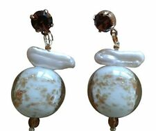 About Face Handmade Marble Stone Earrings With Swarovski Crystals Brand New