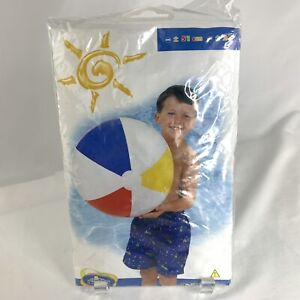 """Vintage New Intex The Wet Set Beach Ball 20"""" Blue Red Yellow White 2003"""