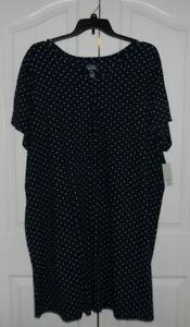 Croft & Barrow Soft Cotton Blend Henley Sleepshirt Nightgown Plus Size 4X Blue