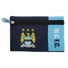 Manchester City F.C Wordmark Flat Pencil Case Kids Back to School Official