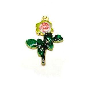 4, 20 or 50 BULK pcs Pink Enamel Rose Charms - US Seller - PK712