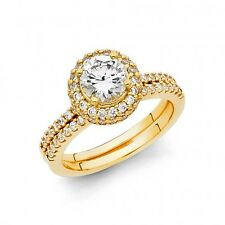 14k Solid Yellow Gold Classic Halo Round cut  Engagement Ring & Wedding Band