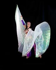 NEW Elegant White Iridescent Isis Wings with Holding Stick Belly Dancing Costume