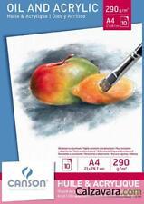 CANSON Blocco Disegno | Olio e Acrilico Oil and Acrylic | A4 10 Fogli 290 gr/mq