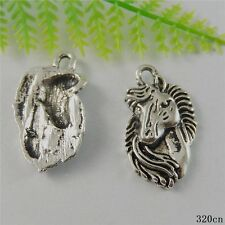 10pcs Vintage Silver Alloy Horse Head Pendants Charms Findings Crafts 50789