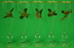 Set of 5 Cyril Gorainoff Pilsner Game Bird Glasses