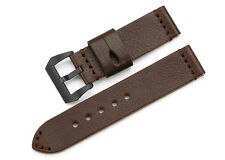 24mm Genuine Leather Soft Wrist Band Black PVD Buckle Watch Strap For Panerai