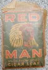 Antique Red Man Indian Tobacco Paper Bag Pouch Full Tax Stamp c1926 Large Size