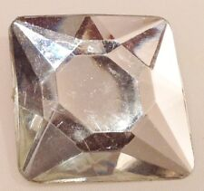 broche bijou vintage rectangle résine couleur blanc facette effet pierre 637
