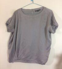 haut blouse grise soie Maje  taille 36 tbe (C1067)
