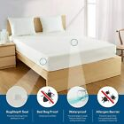 Waterproof Zippered Mattress Protector Bed Bugs Dust Mites Cover Hypoallergenic