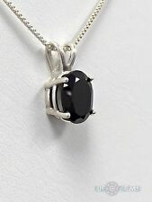 925 Sterling Silver pendant natural Spinel Black Necklace Jewelry. US@GEMS
