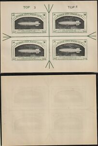 US 1933 AIRSHIP USS AKRON ZEPPELIN SHEET RUBBER CITY STAMP CLUB MNH FULL OWN GUM