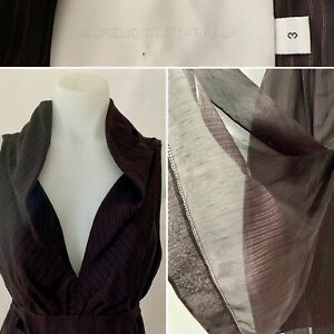 Designer AURELIO COSTARELLA Chocolate Brown SILK LINEN Wrap Maxi Dress Size 8(3)