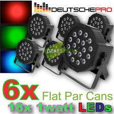 6x FLAT LED PAR CANS 18W DMX Slim DJ Disco Stage Effect Strobe Party Light 18x1W